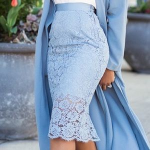 Blue Lace Pencil Skirt